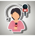woman journalist news microphone vector image