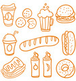 fast food various of doodle set vector image