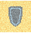 pixelated dot shield on yellow background vector image