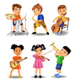 children playing instruments vector image