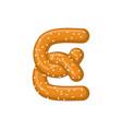 letter e pretzel snack font symbol food alphabet vector image