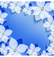 Greeting or invitation with blue 3d flowers sakura vector image vector image