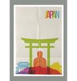 Travel Japan landmarks skyline vintage poster vector image vector image