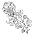 Beautiful Monochrome Contour Flower vector image