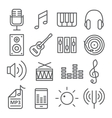 Music icons in trendy linear style vector image