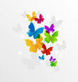Abstract rainbow butterflies colorful background vector image