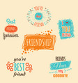 best friend logos set with text labels vector image