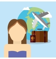 girl character world plane travel vacation vector image