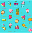 Seamless doodle pattern with idifferent fun sweets vector image