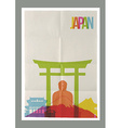 Travel Japan landmarks skyline vintage poster vector image