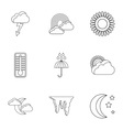 Air temperature icons set outline style vector image