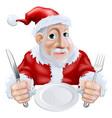 happy cartoon santa ready for christmas dinner vector image vector image