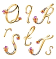 Bronze alphabet with colored gems letters QRST vector image