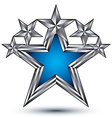 Royal blue star with silver outline geometric five vector image