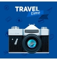 Camera and travel badge vector image vector image