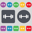 barbell icon sign A set of 12 colored buttons Flat vector image