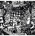 black and white seamless pattern graffiti sticker vector image