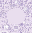 Circle greeting card with violet flowers vector image