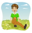 Crying boy with wounded leg in park vector image