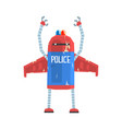 cute cartoon android policeman character vector image