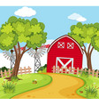 farm scene with small barn and turbines vector image