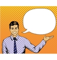 Man with speech bubble in retro pop art style vector image