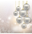 Painted silver Christmas toys on abstract snowy vector image