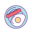 sausage with fried egg vector image
