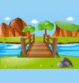 scene with wooden bridge in park vector image
