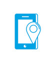 silhouette smartphone technology with location map vector image