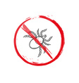 warning sign of the tick sketch vector image