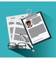 businessman glasses pen cv document icon vector image