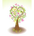 tree with butterfly vector image vector image