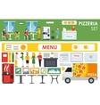 Big detailed Pizzeria Interior flat icons set vector image