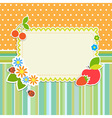 Frame with flowers and fruits vector image