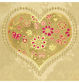Old grunge paper with big heart vector image