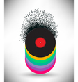 Notes buzz around this music background vector image