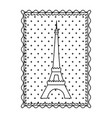 monochrome contour frame of eiffel tower with vector image