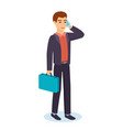 an office worker holds briefcase talks on phone vector image