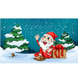 Happy Santa sitting in front of the pine tree vector image vector image