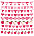 Valentines Day bunting and decoration set vector image