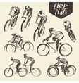 Hand draw set mountain bicyclist bike cycle sketch vector image