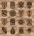 Military camouflage emblem patch set in tan vector image