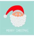Santa Claus face with button beard Merry Christmas vector image