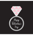 Wedding silver ring with diamond Valentines Day vector image