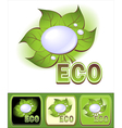 Set Ecologic icons with leaves and water droplets vector image