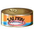 Salmon in aluminum can vector image