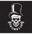 Vintage gentleman club emblem with skull in tall vector image
