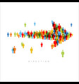 direction arrow made from people icons vector image vector image