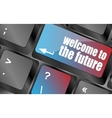 welcome to the future text on laptop keyboard key vector image